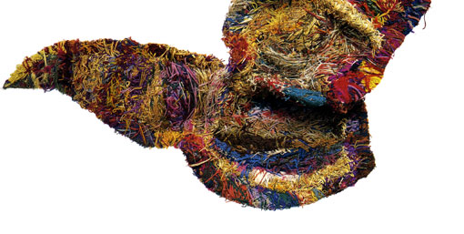 Base of wing tapestry, a large multicolored work.